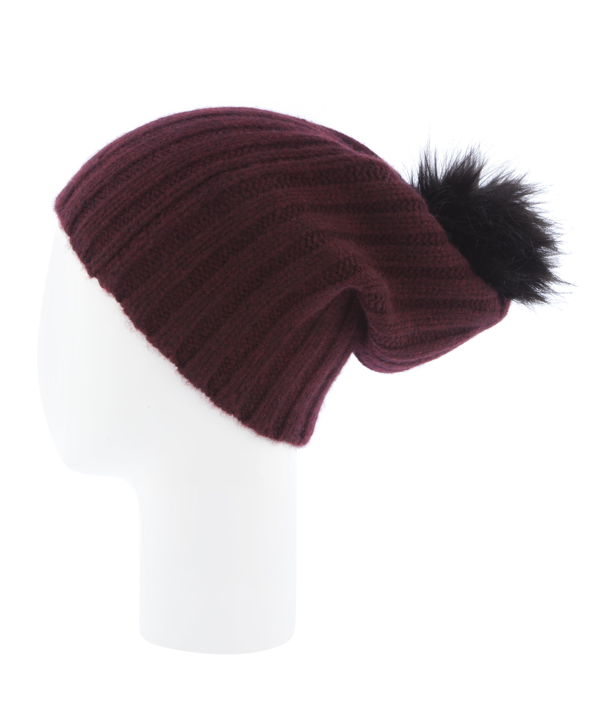 d3e18b42ecc Lyst - Henri Bendel Pom-pom Cashmere Ribbed Hat in Purple