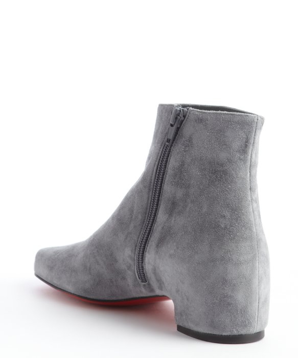 Christian louboutin Grey Suede Side Zip Ankle Boots in Gray for ...