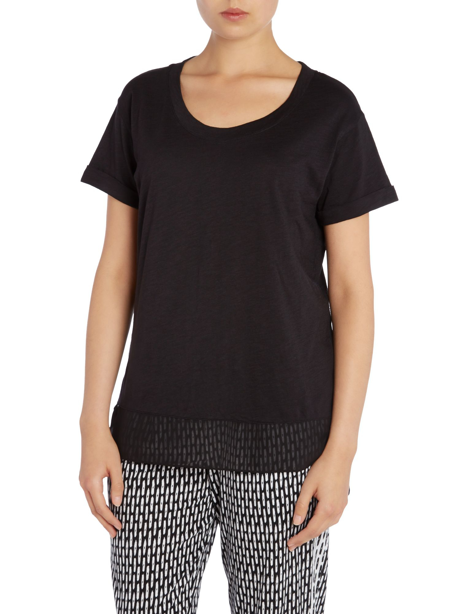 lyst dkny sheer panel short sleeve tshirt in black