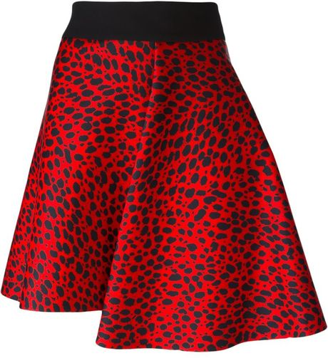 fausto puglisi leopard print skirt in blue