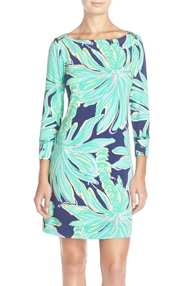 75883a355bb3c6 Lilly Pulitzer 'sophie' Print Jersey Shift Dress in Blue - Lyst