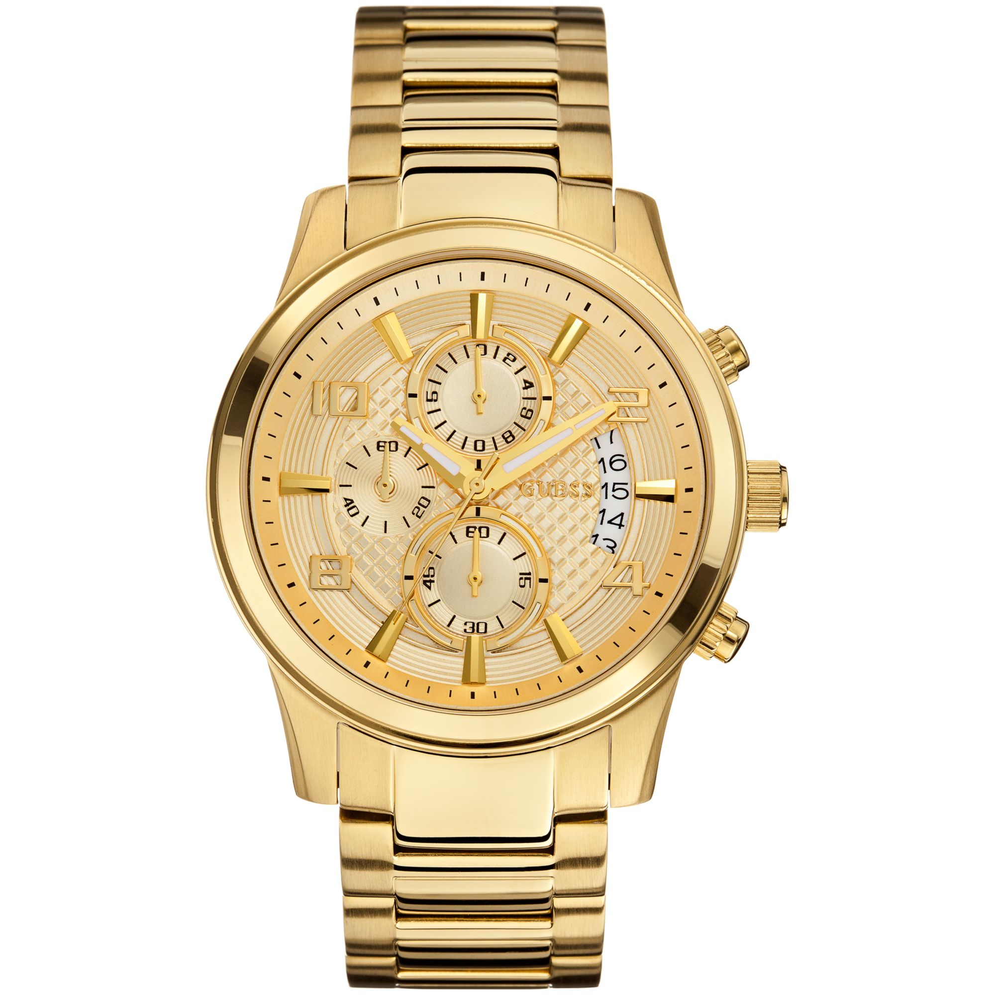 guess s chronograph gold tone stainless steel bracelet