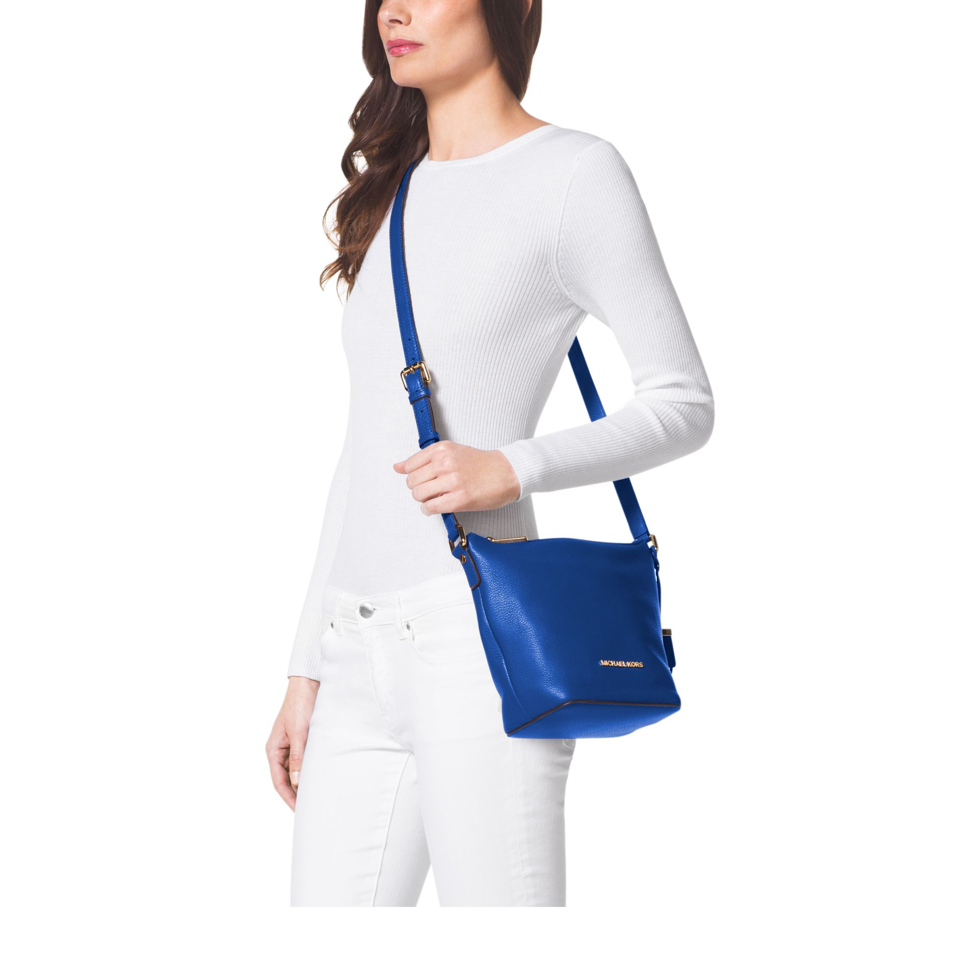 99721be178f0 Michael Kors Bedford Small Leather Messenger in Blue - Lyst