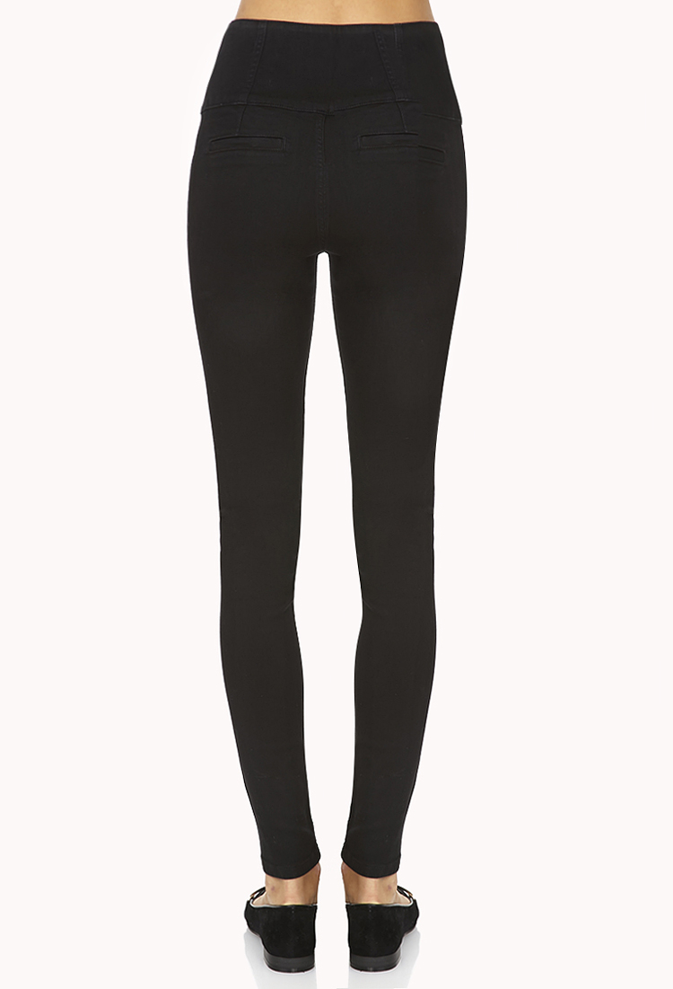 Gallery - Forever 21 High-waisted Matelot Skinny Jeans In Black Lyst