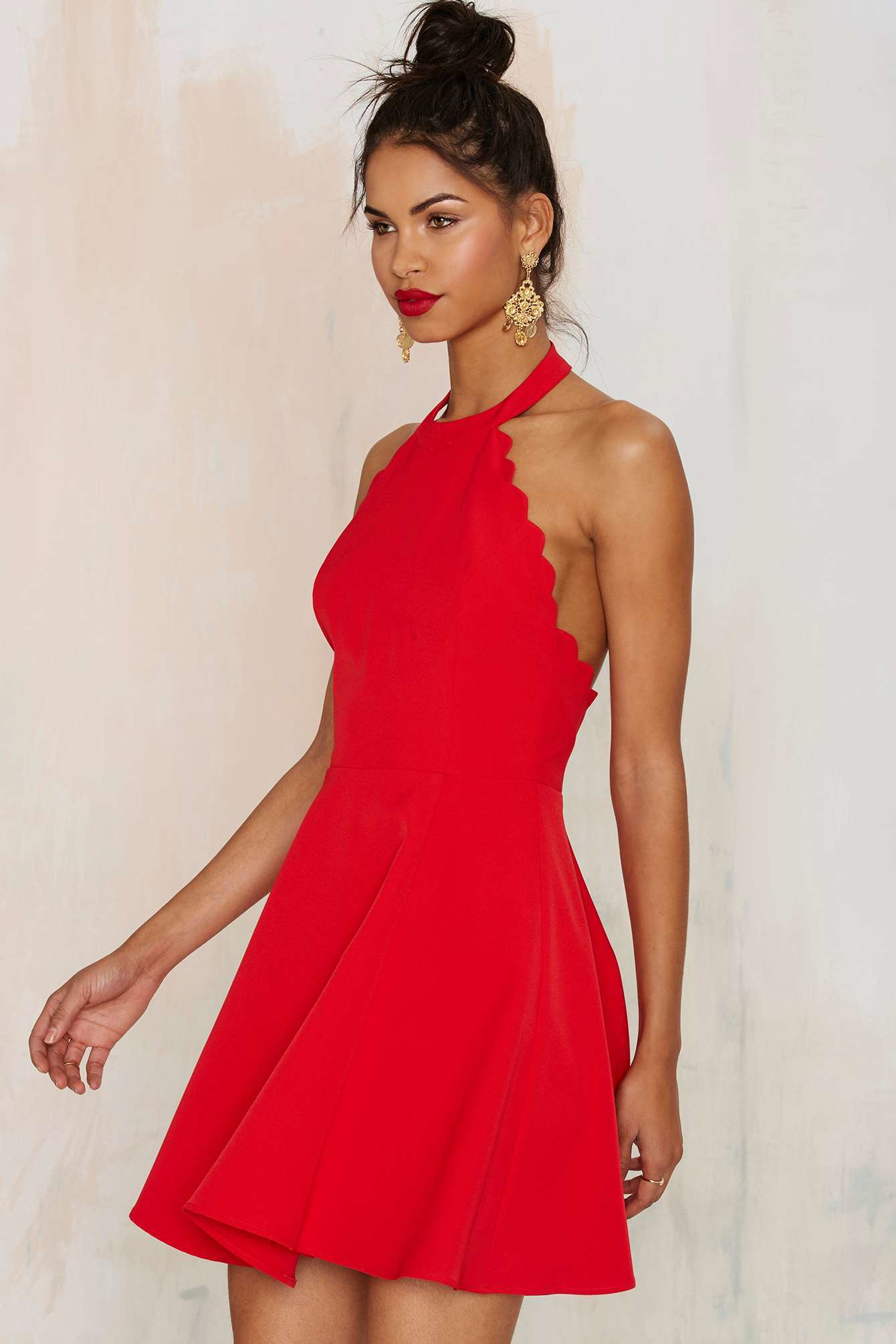 Nasty gal Love & Kisses Halter Dress in Red | Lyst