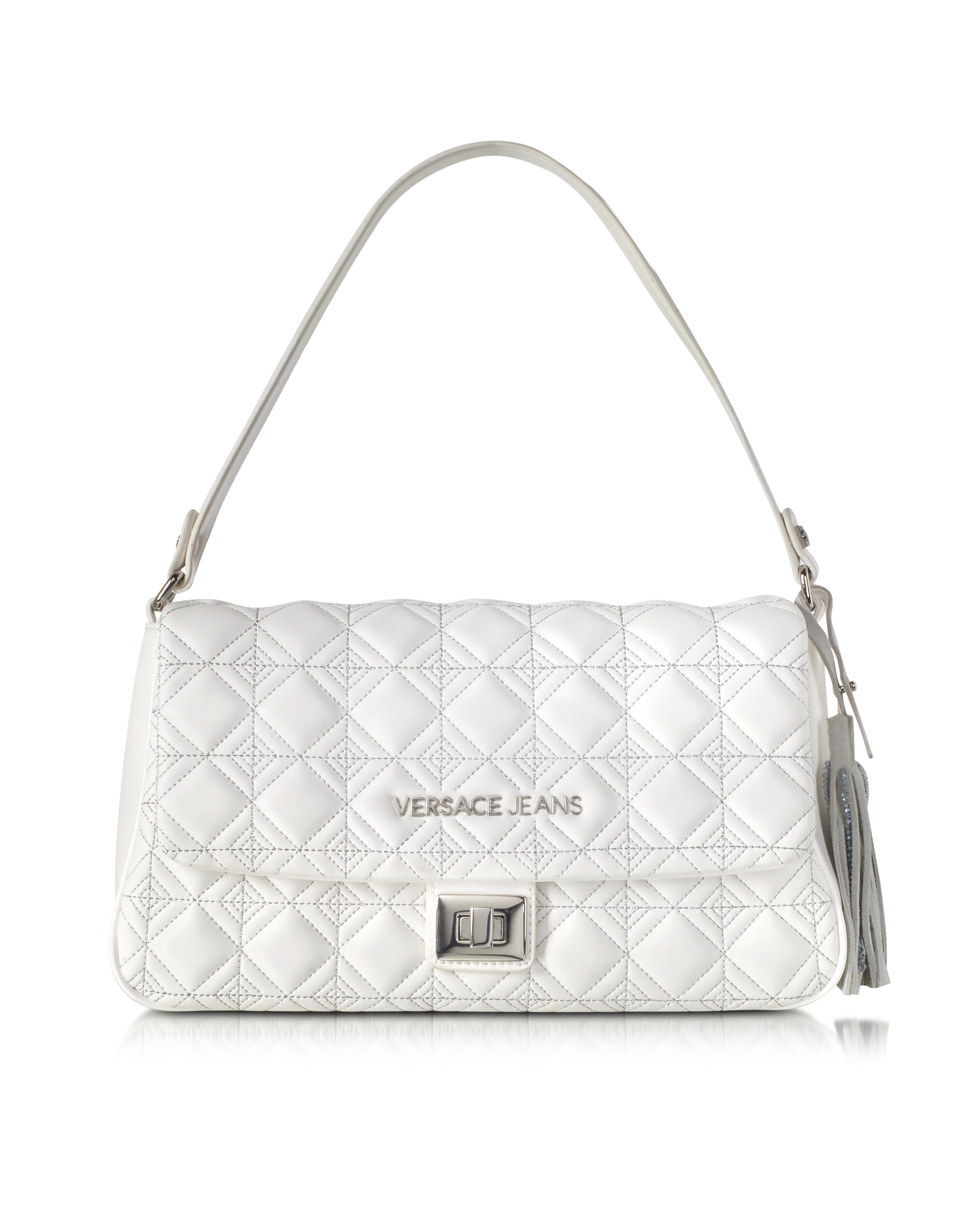 Versace jeans White Quilted And Embroidered Shoulder Bag in White ...