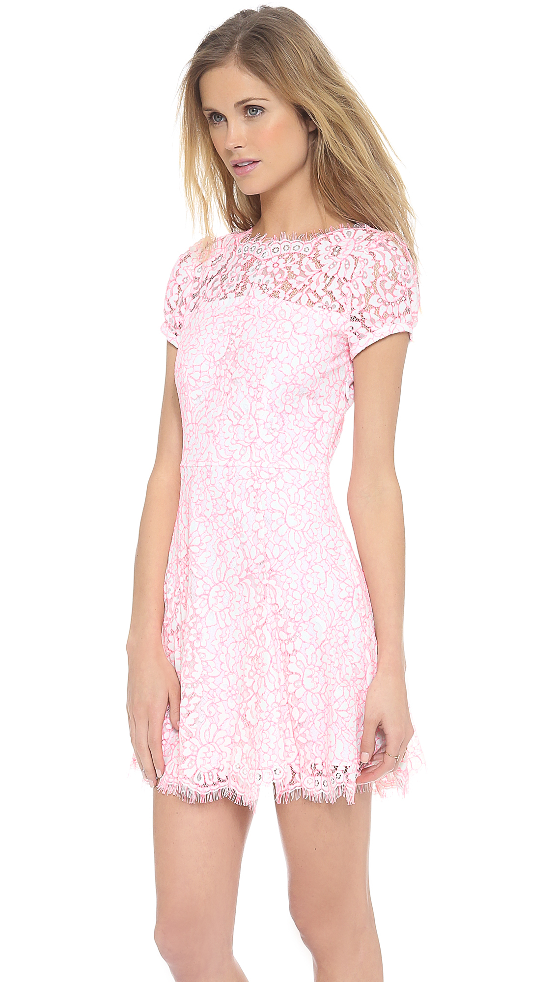 Juicy Couture Lace Dress in Pink (Menthol White/Pink)