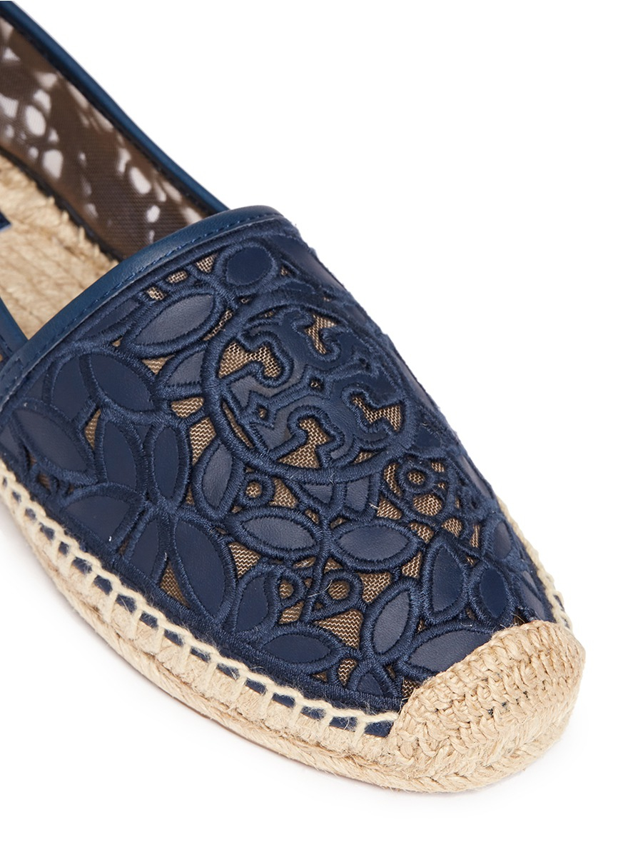 Lyst Tory Burch Rhea Embroidered Leather Espadrilles In Blue