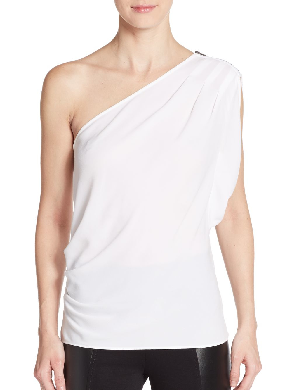 bcbgmaxazria carli one shoulder top in white lyst. Black Bedroom Furniture Sets. Home Design Ideas