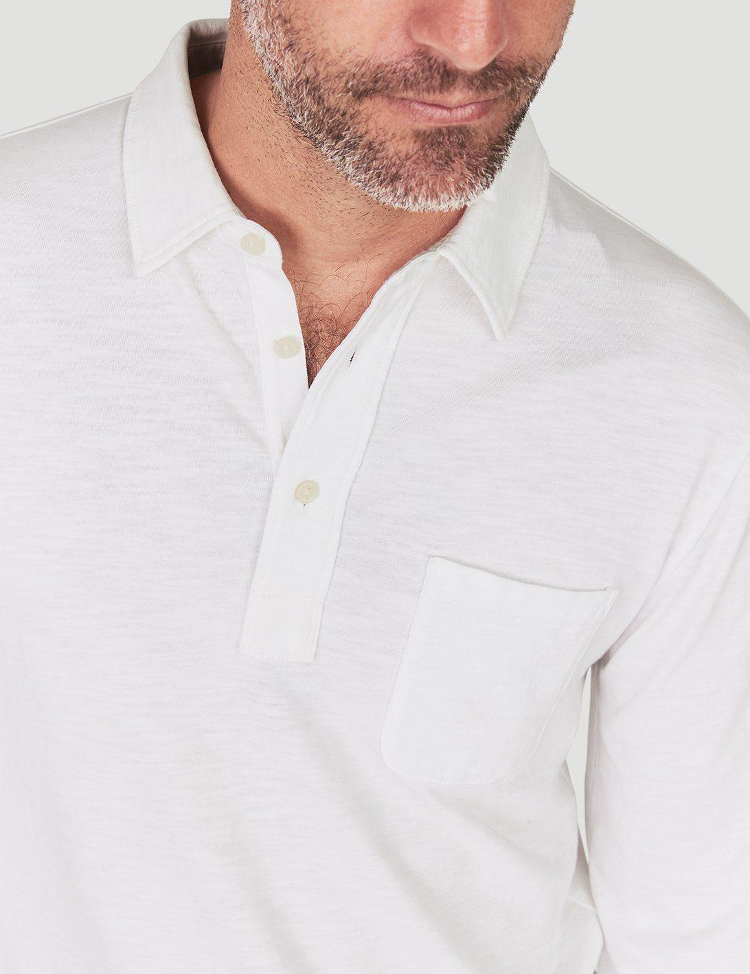 d01d4684c825 Lyst - Faherty Brand Sunwashed Long-sleeve Polo in White for Men