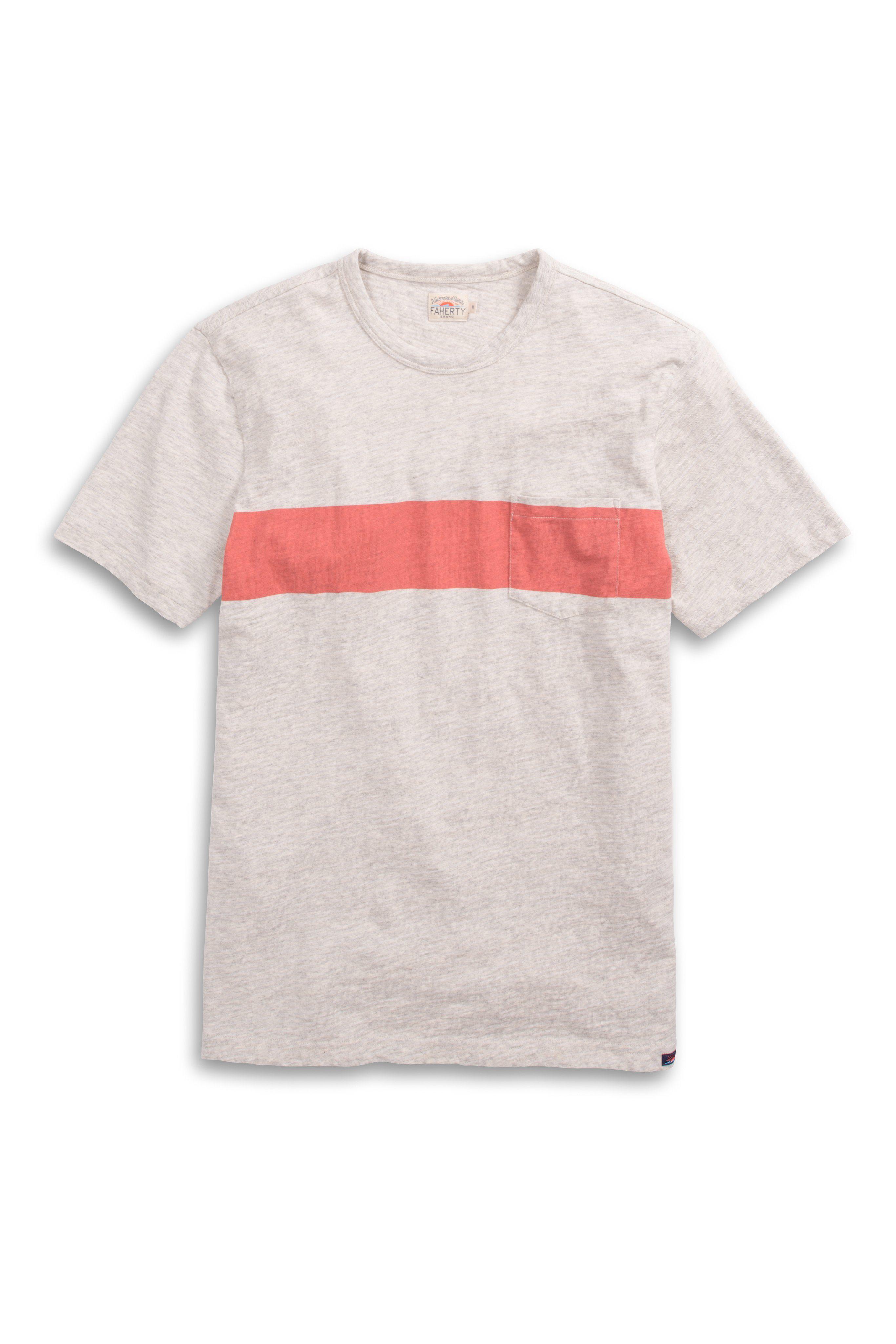 b5c47455f1 Faherty Brand - Gray Surf Stripe Pocket Tee for Men - Lyst. View fullscreen