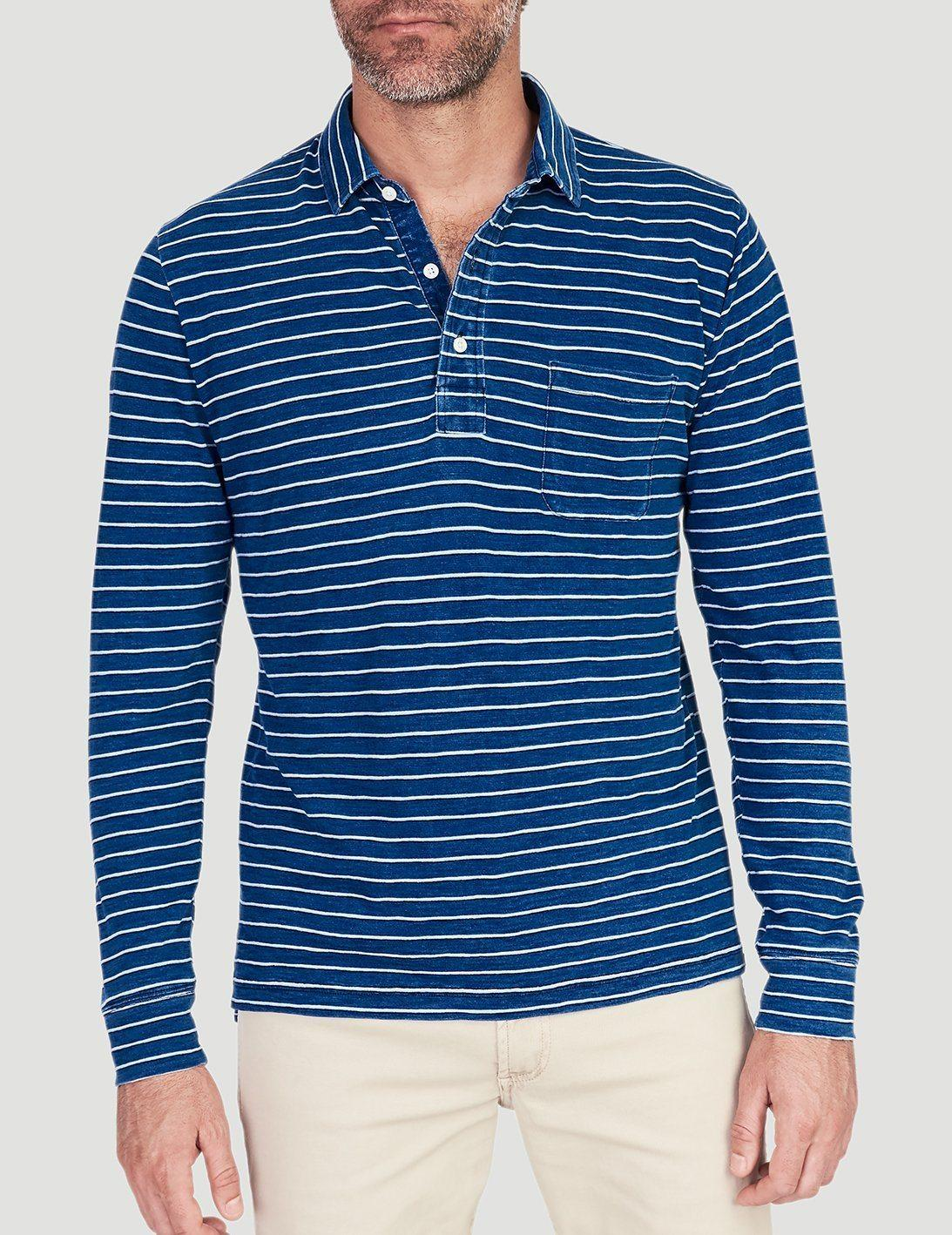 01fcf565240f Lyst - Faherty Brand Long-sleeve Polo in Blue for Men - Save 77%