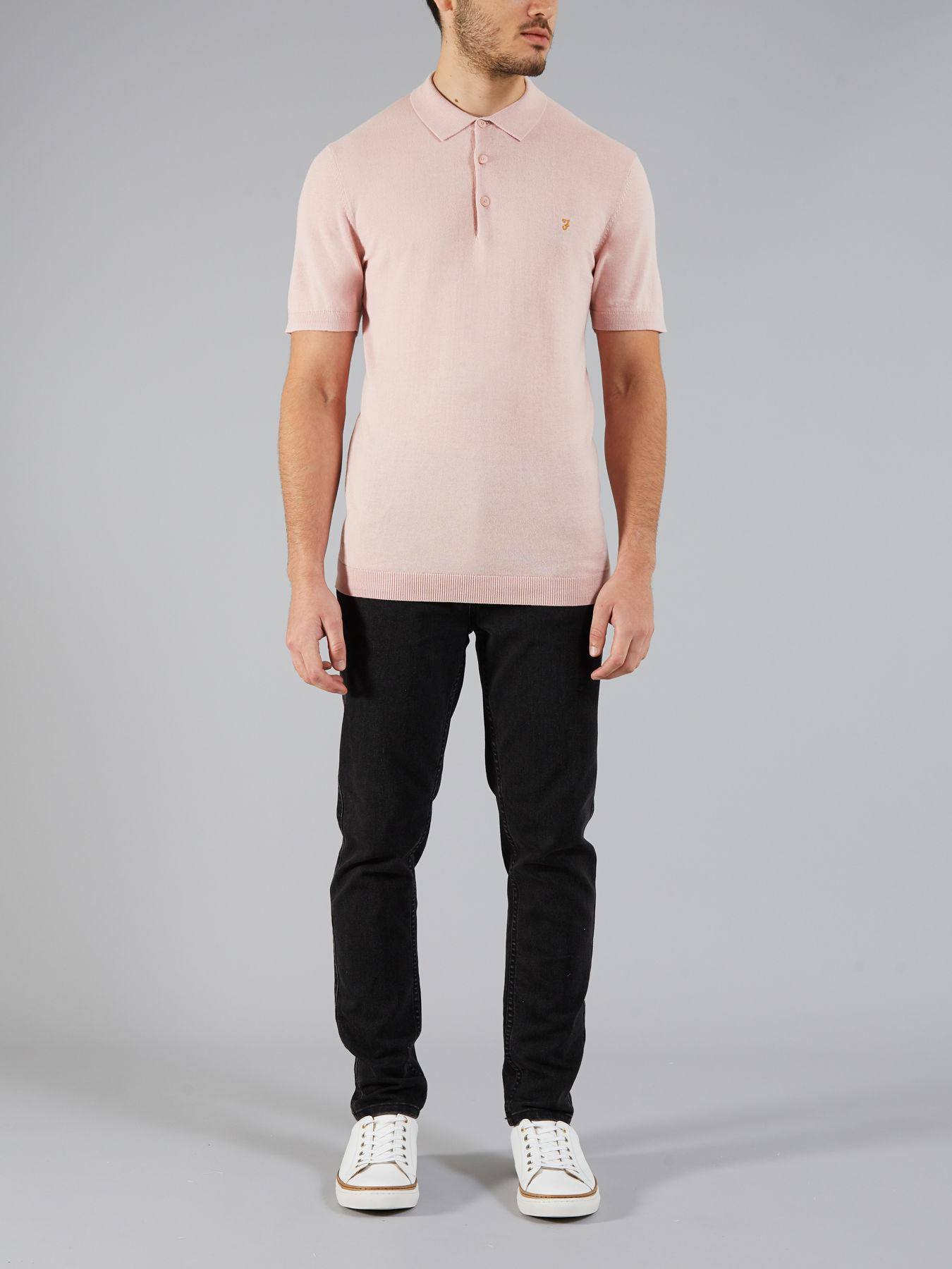 69682733 Farah The Ben Knitted Polo in Pink for Men - Lyst