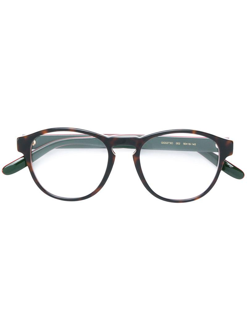 502e8b10bd Gucci Tortoiseshell Round Frame Glasses in Brown - Lyst