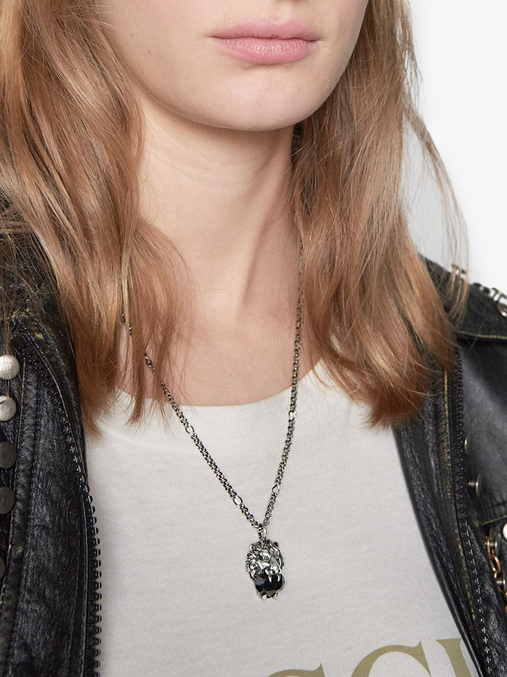 b93e4fb1b ... Gucci - Metallic Lion Head Necklace With Crystal - Lyst · Visit  Farfetch. Tap to visit site
