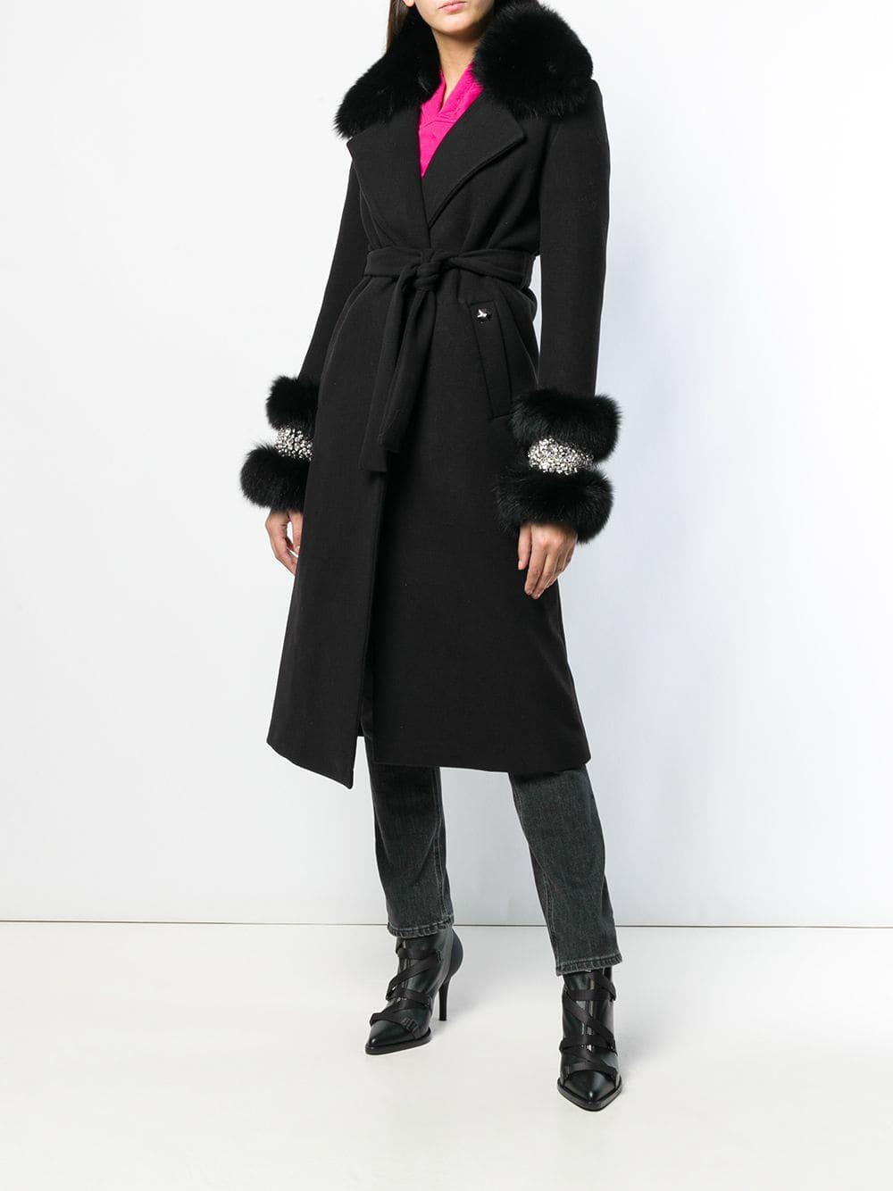 c1f382dba65b9 Philipp Plein Fur Detail Belted Coat in Black - Lyst
