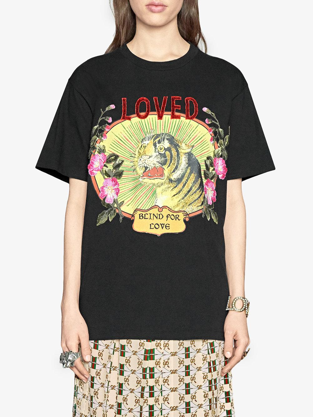 Lyst - Gucci Tiger Print Cotton T-shirt in Black 3800cc893c0b