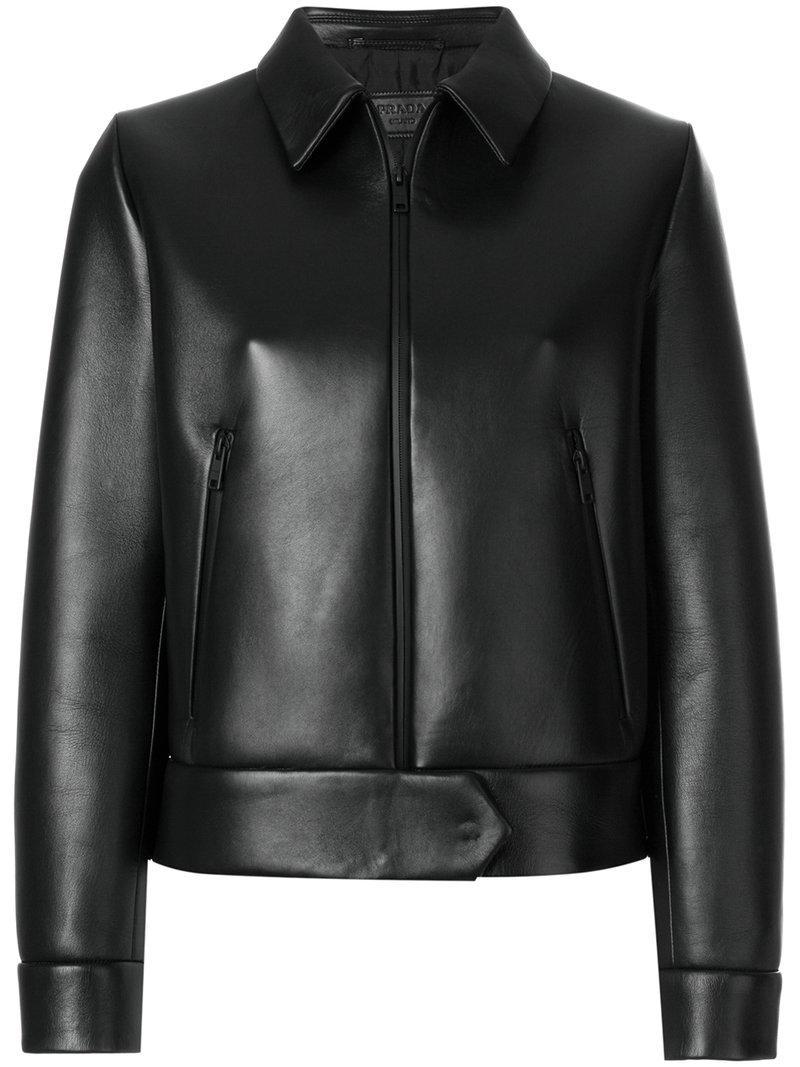 Femme Veste Prada Crop De Noir Coloris vnqgx1wq