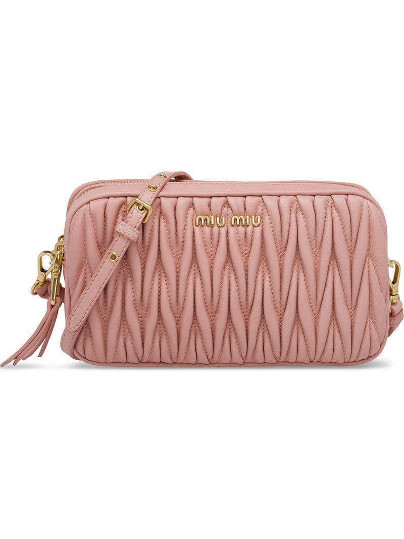 83ef4836ff11 Lyst - Miu Miu Matelassé Mini Bag in Pink