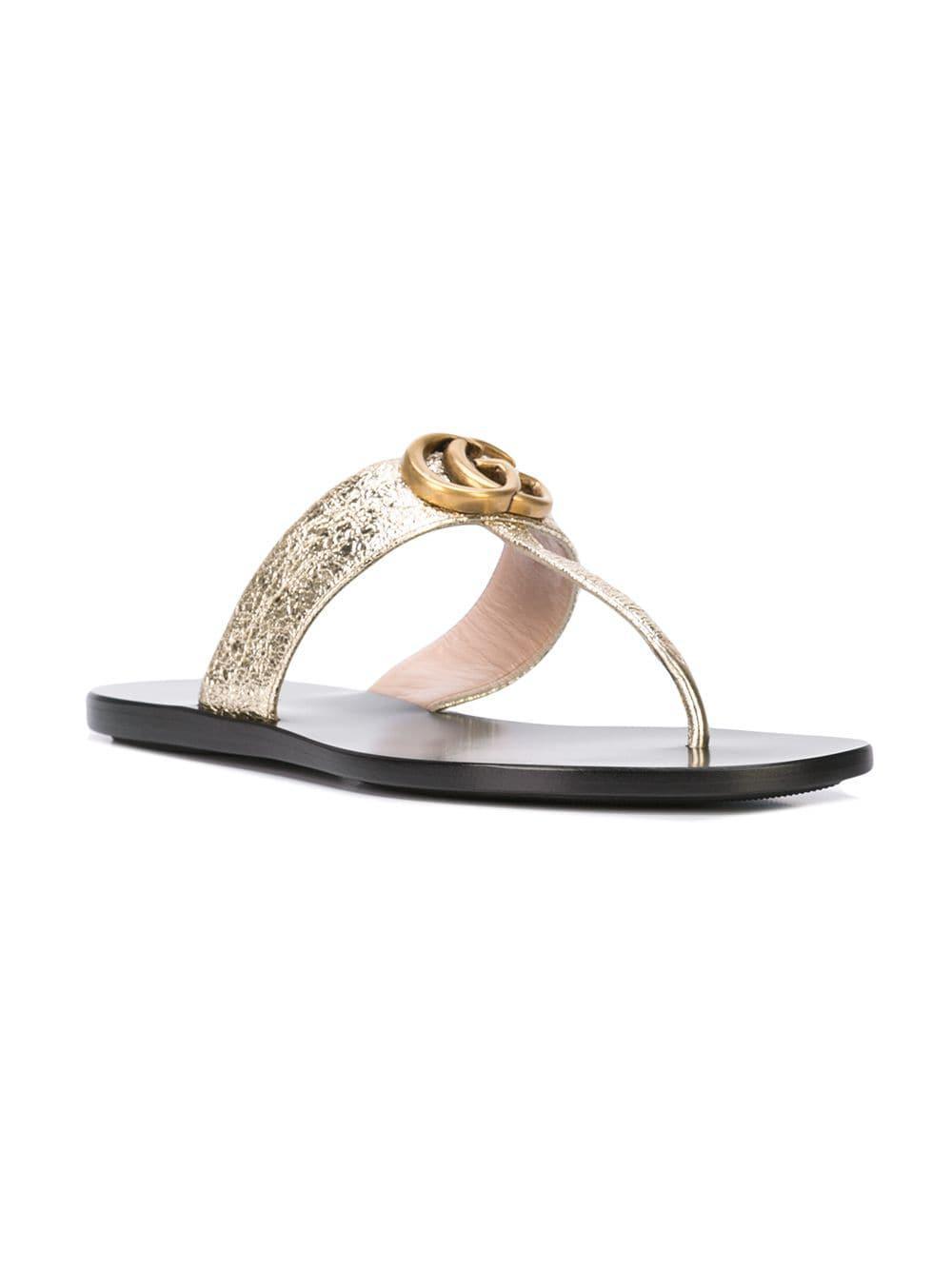 Lyst - Sandalias con doble G y tira para el dedo Gucci de color Negro 6fe12ade799
