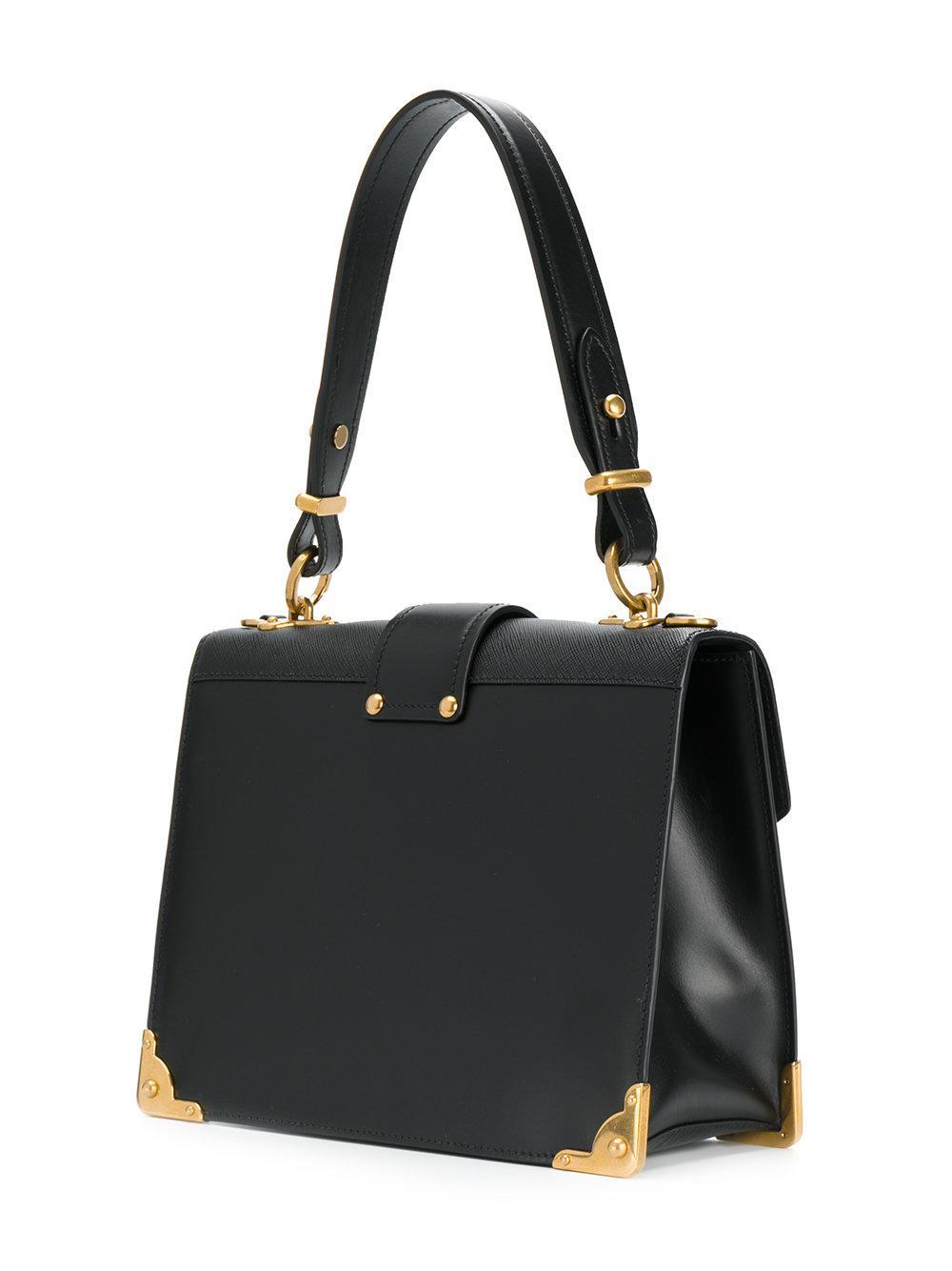 fa16e1609872 ... wholesale lyst prada cahier lion embellished shoulder bag in black  1f5df 11f74