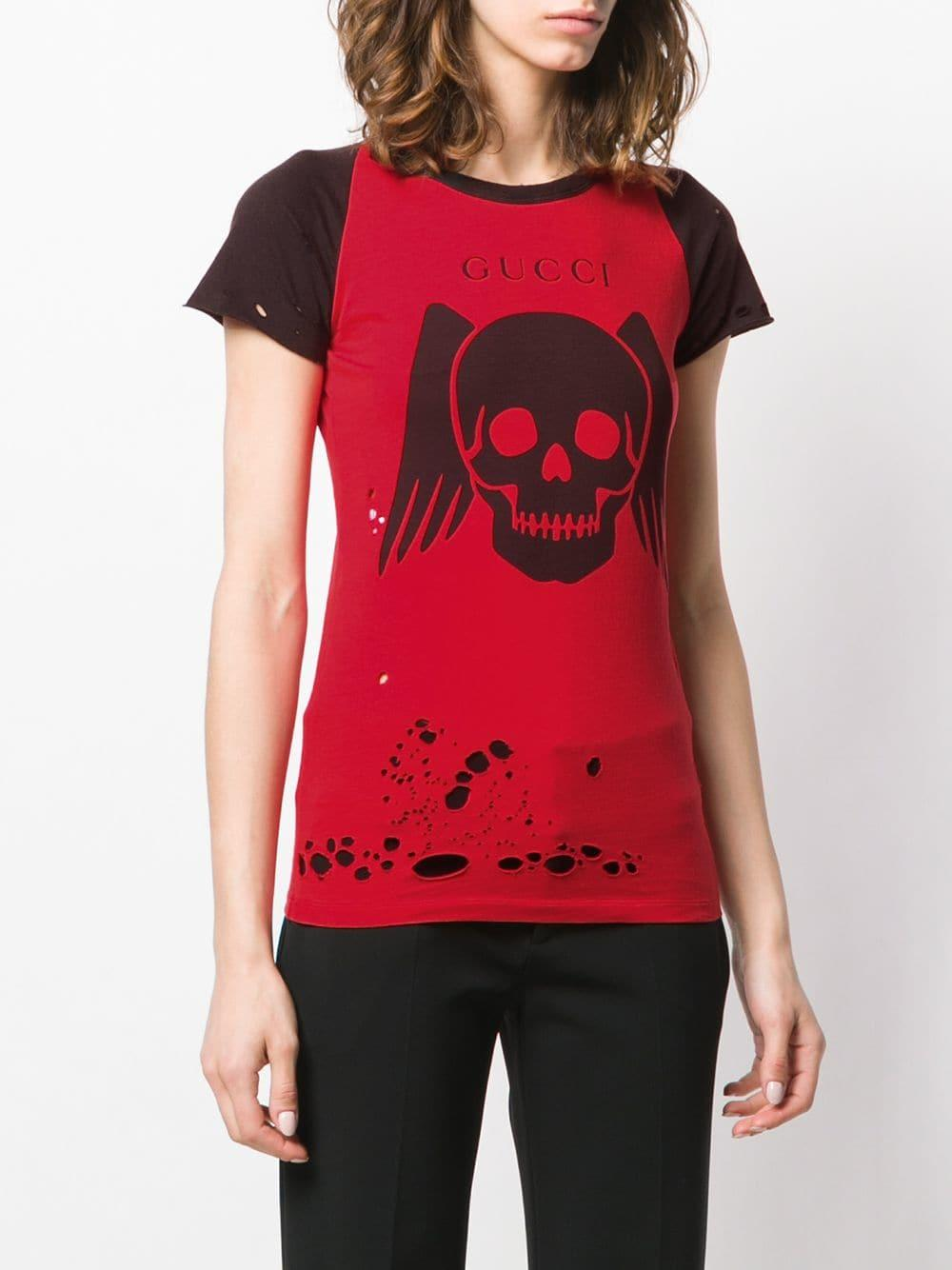 4ecdf14c Gucci - Red Ripped Contrast Graphic T-shirt - Lyst. View fullscreen