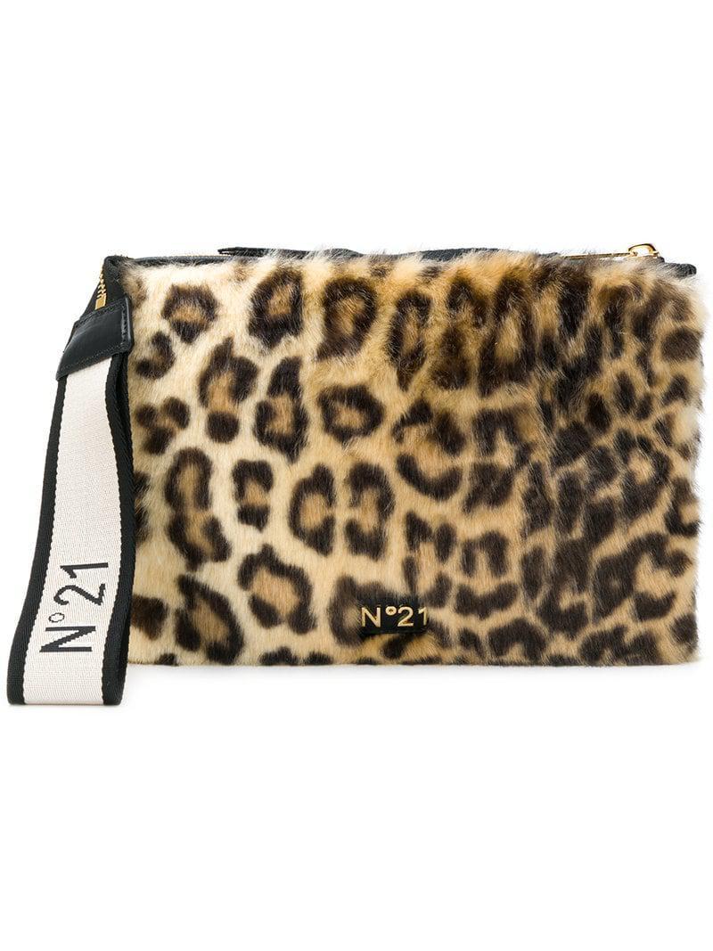 ... Black Leopard-print Faux-fur Clutch - Lyst. View fullscreen 8598b6d46dd28