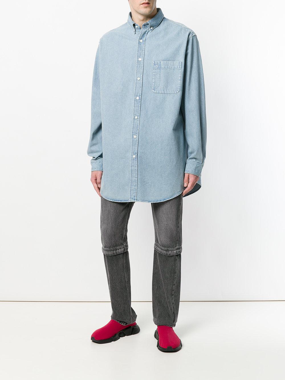 86874ecc Balenciaga Bal Big Denim Shirt in Blue for Men - Lyst