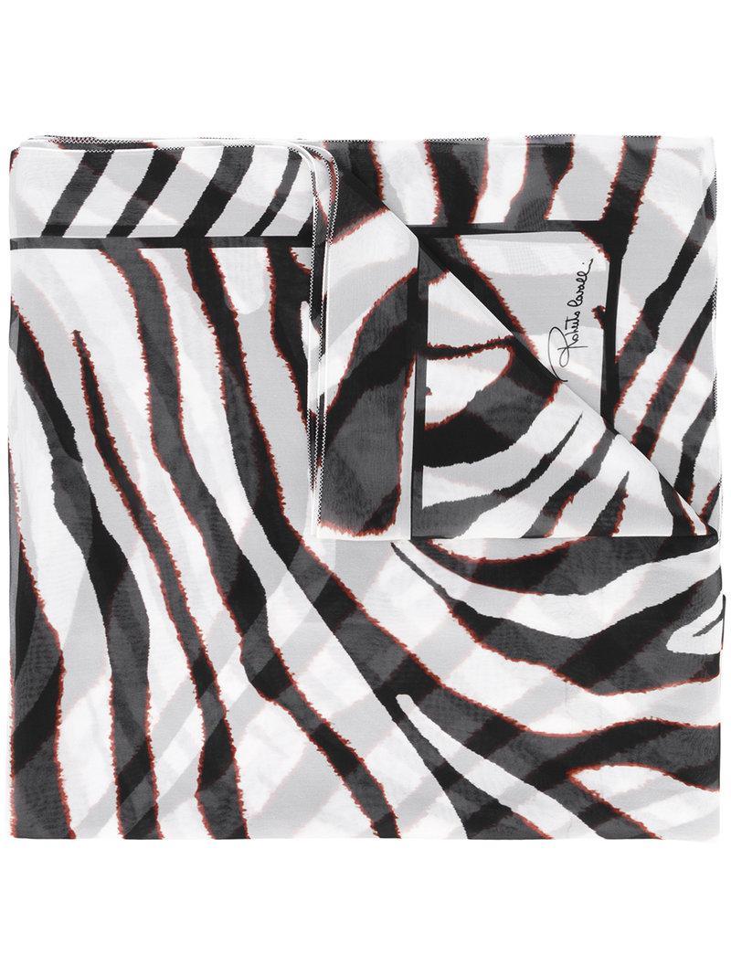 c45d4a5c0fd Lyst - Foulard à imprimé zèbre Roberto Cavalli en coloris Blanc
