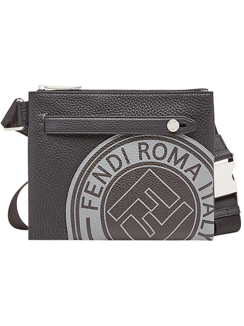 3c67408b07e6 Lyst - Fendi Logo Print Messenger Bag in Black for Men