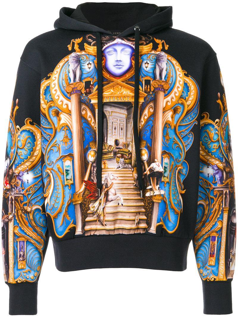 Lyst Versace Skater Olympus Print Hoodie In Blue For Men
