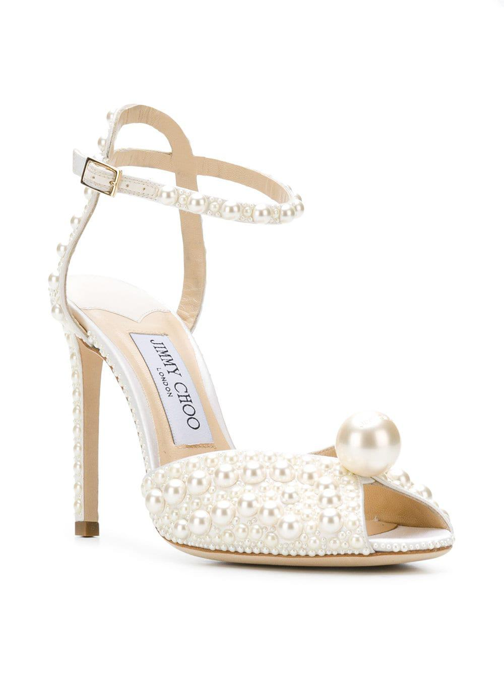 Sacora Over White Sandals 100 Choo Satin Jimmy Pearls With All Aqc34jRL5