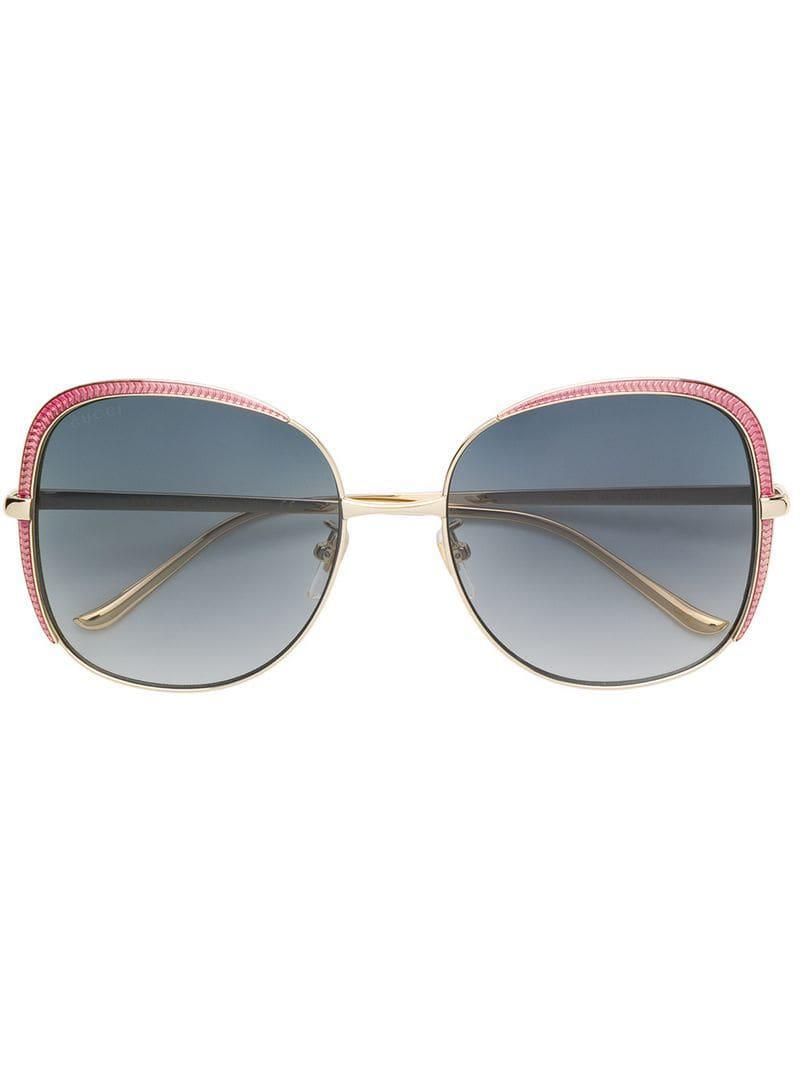 5c62b49486b Gucci Oversized Square Shaped Sunglasses in Metallic - Lyst