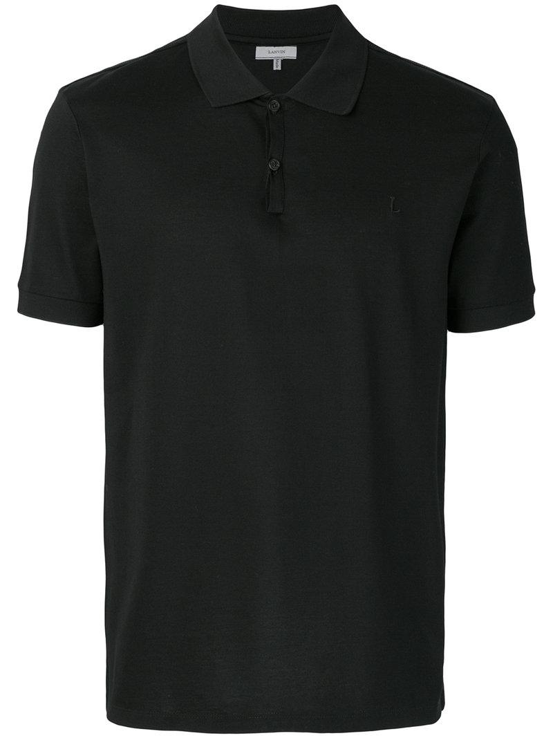 Lyst lanvin classic polo shirt in black for men for Man in polo shirt