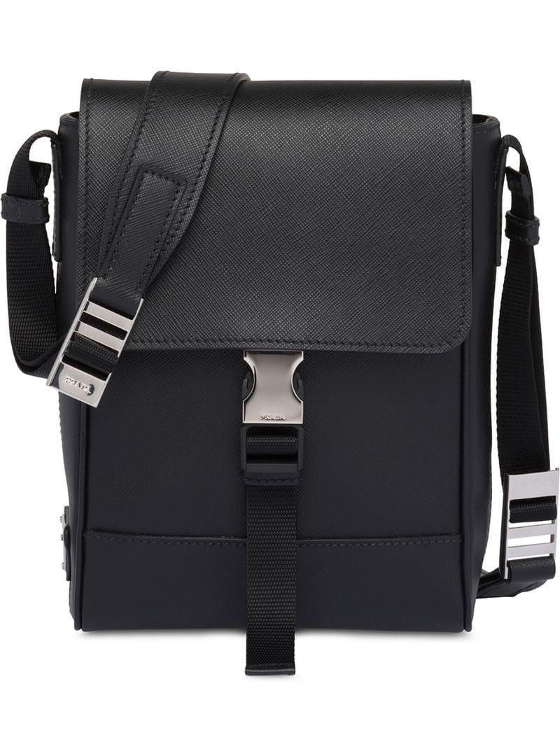 Lyst - Prada Saffiano Leather Shoulder Bag in Black for Men c006f854ba84c