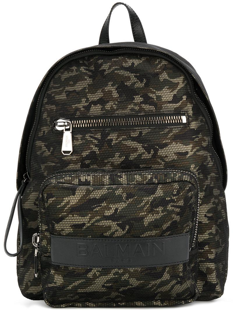 4b3fa72bfdf Balmain Camouflage Print Backpack in Green for Men - Lyst