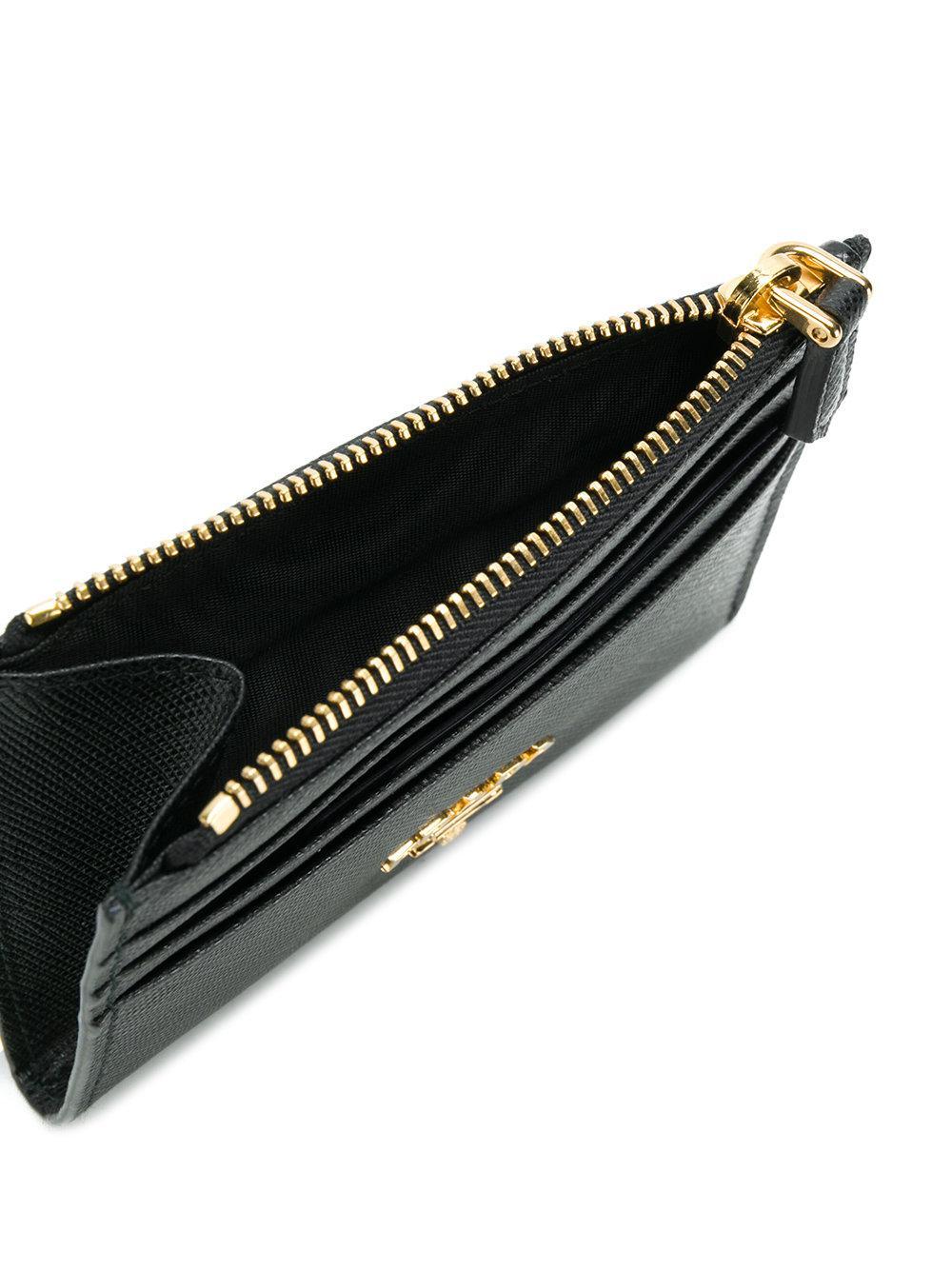 Lyst - Prada Saffiano Zip Cardholder in Black