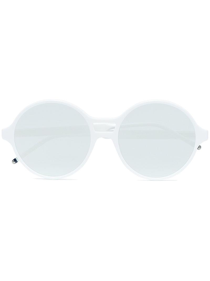 d1c0b66a19 Lyst - Thom Browne White Round Frame Mirror Sunglasses in White for Men