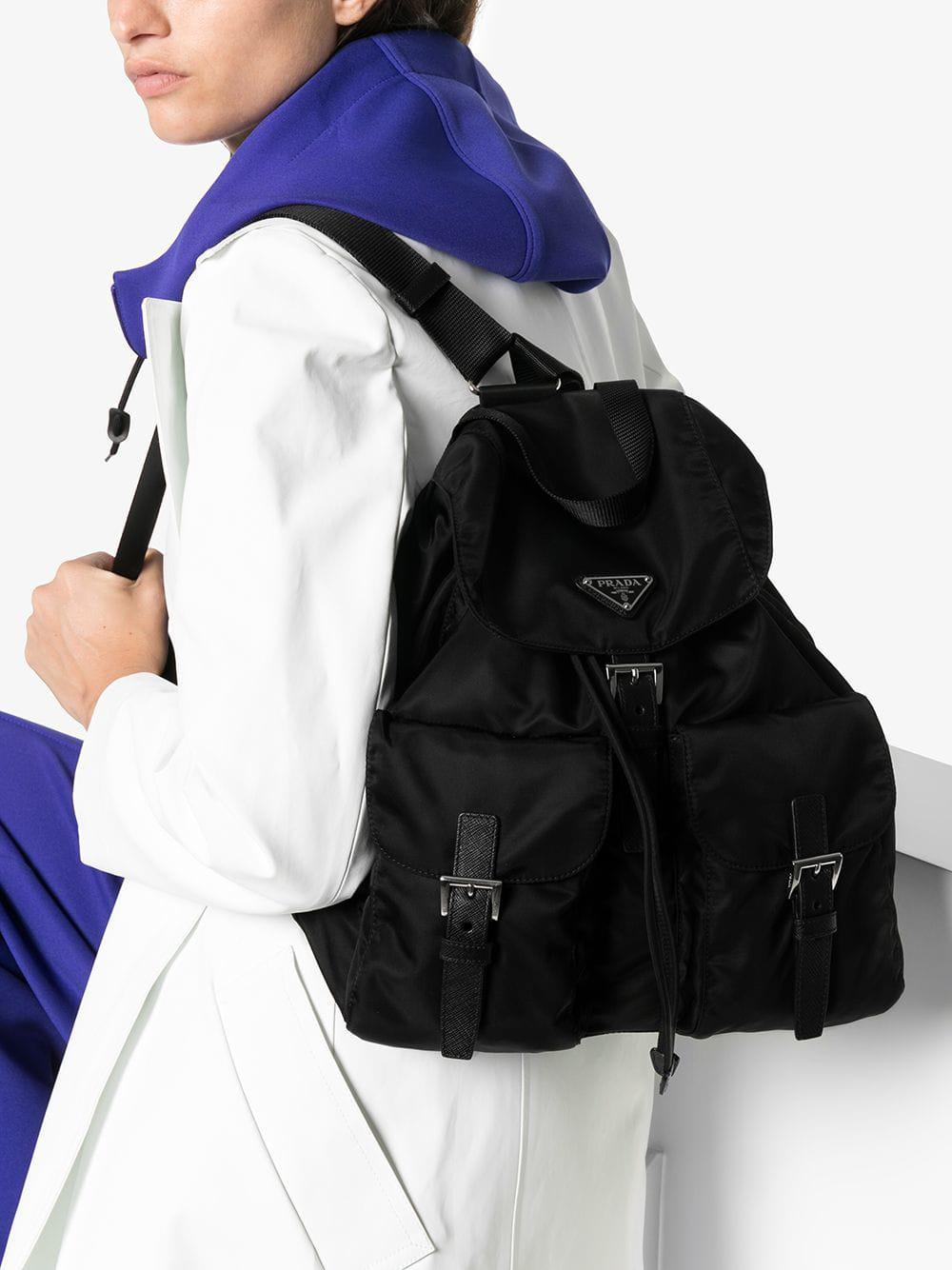 8142d4dae8a1 Prada Black Classic Nylon Backpack in Black - Lyst