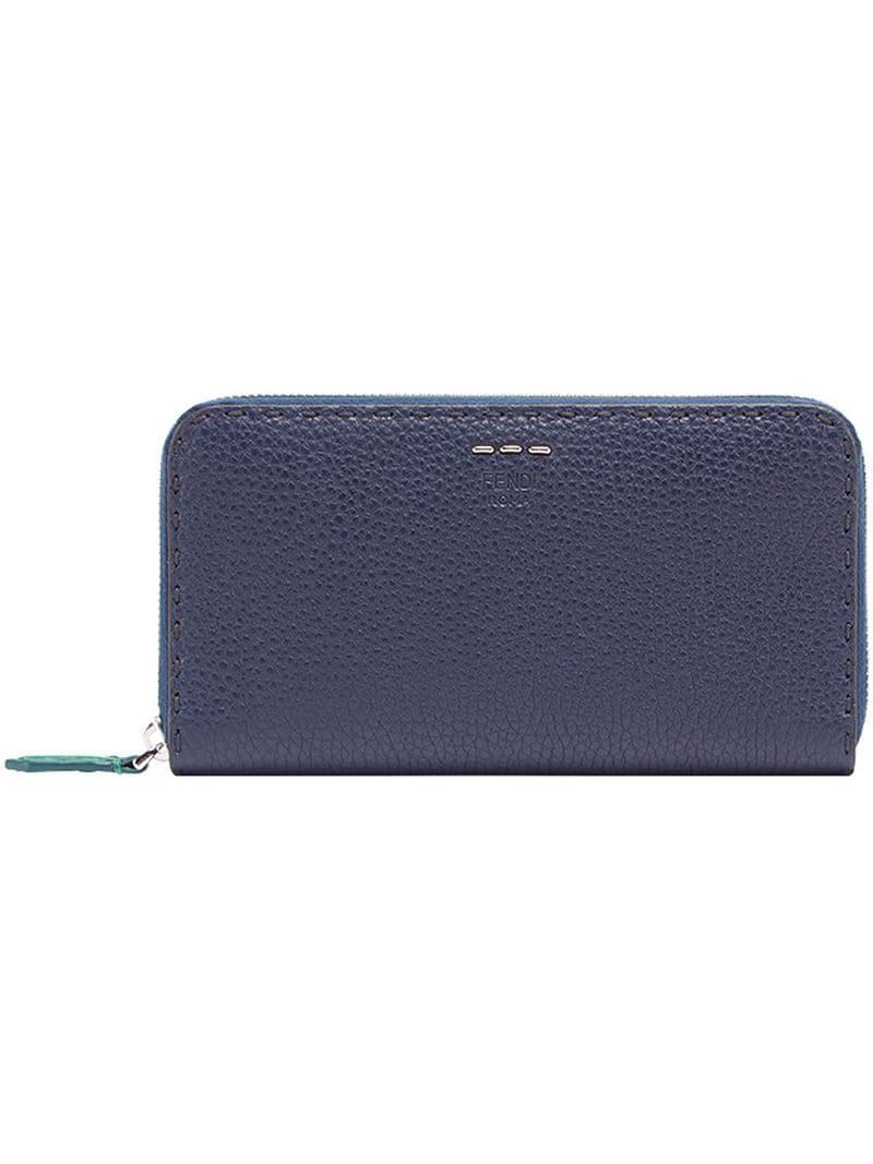 bf968880bd1e Fendi Zip-around Selleria Wallet in Blue for Men - Lyst