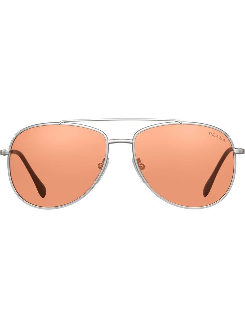 5c23d7fa0f21 Prada - Metallic Aviator Sunglasses for Men - Lyst. View fullscreen