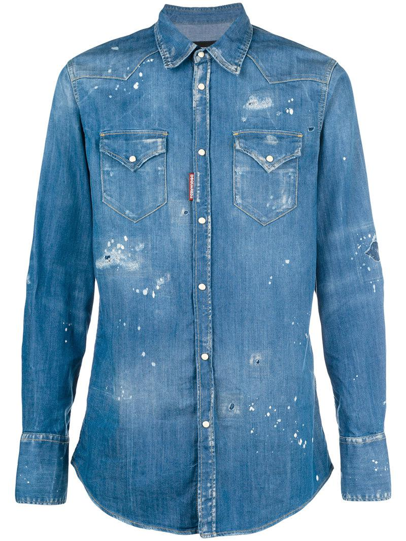 0617593f08 DSquared² Distressed Denim Shirt in Blue for Men - Lyst