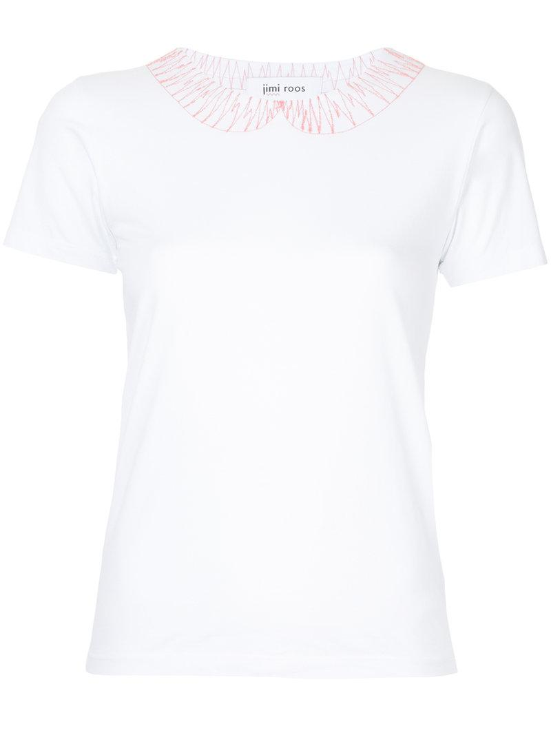 Jimi Roos embroidered pan collar T-shirt Fast Express 75KxF1djOL