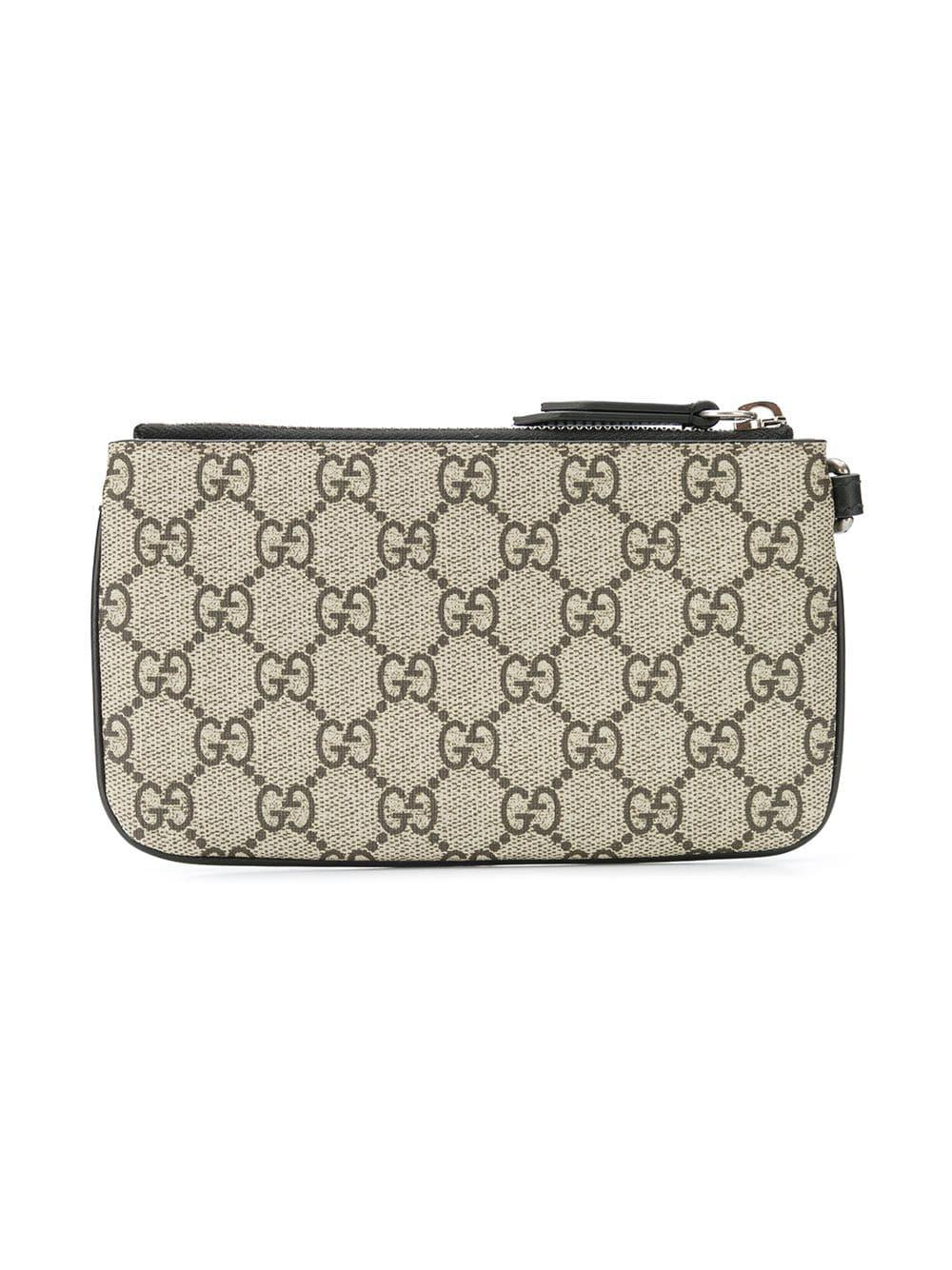 6a76a3296e3 Lyst - Gucci Snake Print GG Supreme Card Holder in Brown for Men