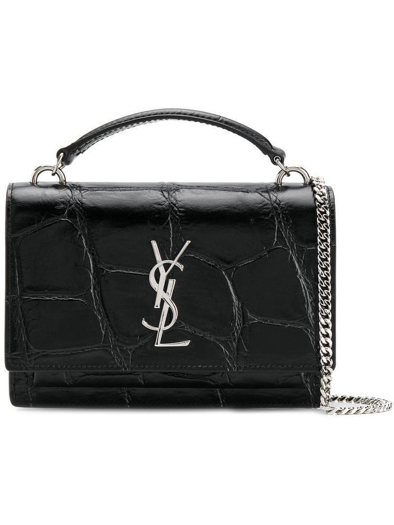 Lyst - Saint Laurent Crocodile Embossed Monogram Bag in Black 1cdee0a52433b
