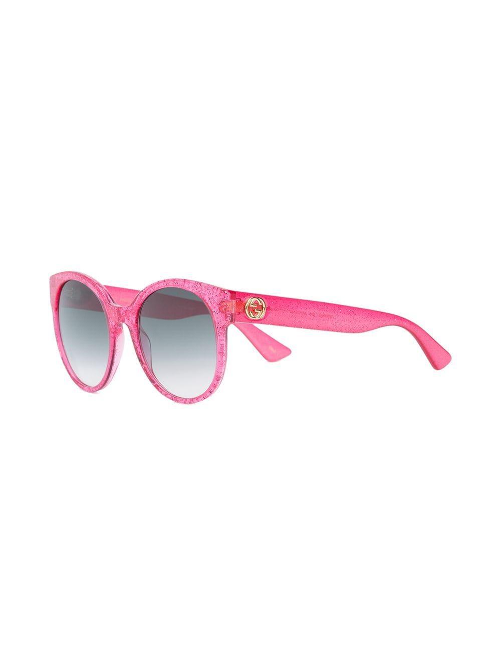 5a0ca47ff1e7 Gucci - Pink Round-frame Glitter Sunglasses - Lyst. View fullscreen