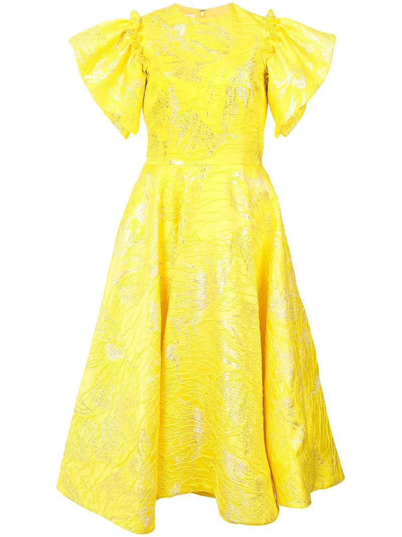 Siriano Women S Yellow Flared Midi Dress