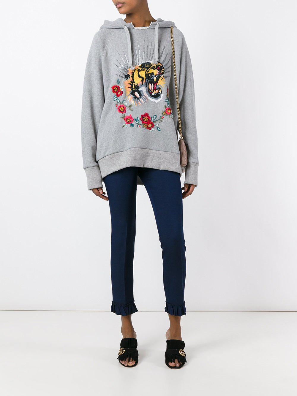 3e92522dc59 Lyst - Gucci Tiger Embroidered Hooded Sweatshirt in Gray