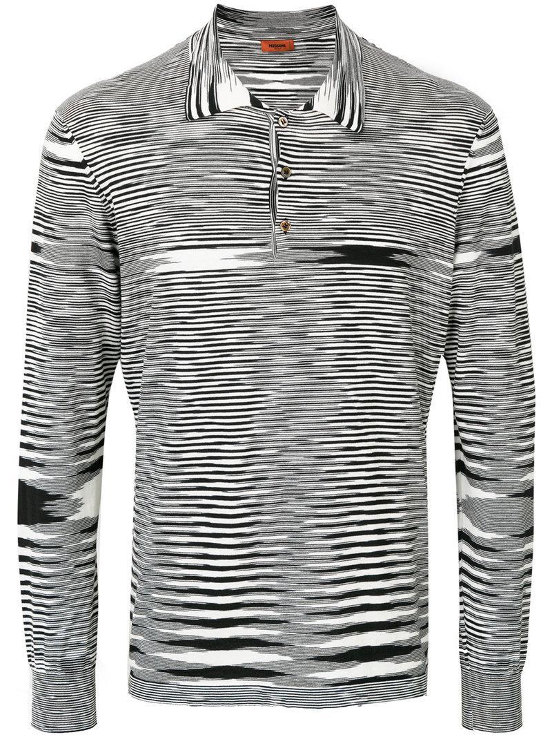 42bbe87bdeb4 Missoni Striped Polo Shirt in Black for Men - Lyst