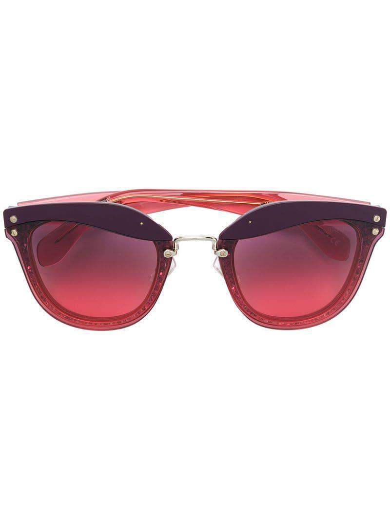 1c7f3f686db Miu Miu Glitter Cat-eye Sunglasses in Red - Lyst